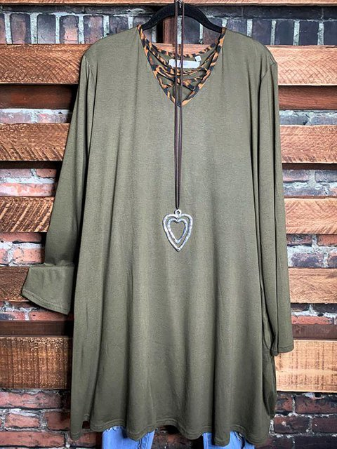 V-Neck Cotton-Blend Solid Loose Tunic Tops