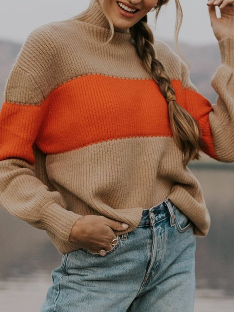 Camel Stripes Shift Cotton-Blend Casual Sweater