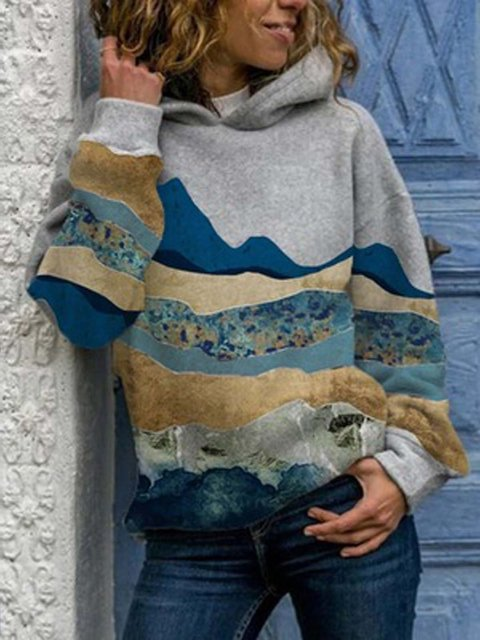 Abstract  Long Sleeve  Printed  Polyester  Hoodie Top