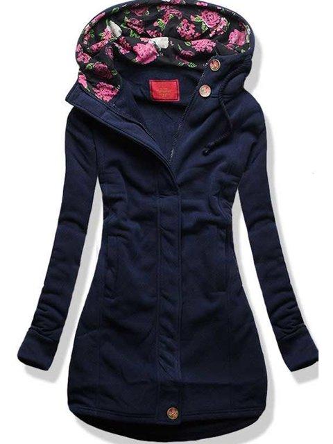 Blue Casual Cotton-Blend Outerwear