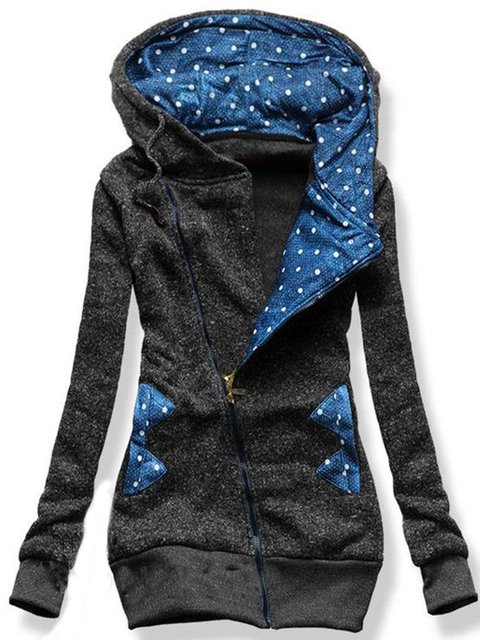 Blue Polka Dots Long Sleeve Printed Outerwear