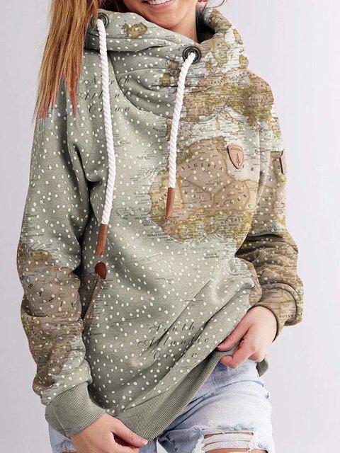 Gray Green Long Sleeve Cotton-Blend Sweatshirt