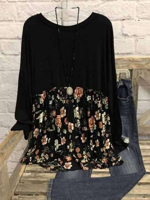 Large size Black Crew Neck Casual Printed Dresses