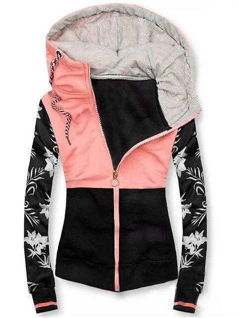 Casual Floral Cotton-Blend Color-Block Outerwear