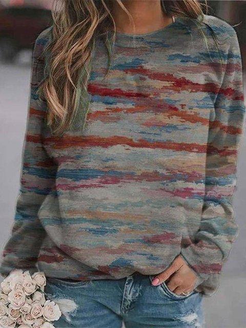 Red Shift Long Sleeve Casual Sweatshirt