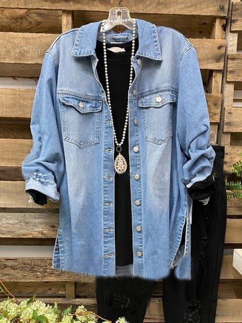 Blue Denim Long Sleeve Shirt Collar Outerwear