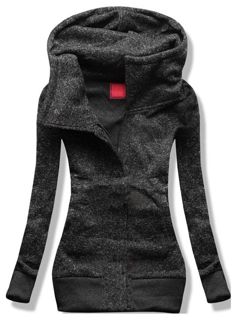 Gray Solid Hoodie Long Sleeve Outerwear