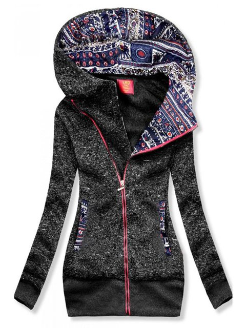 Gray Geometric Floral-Print Casual Hoodie Outerwear