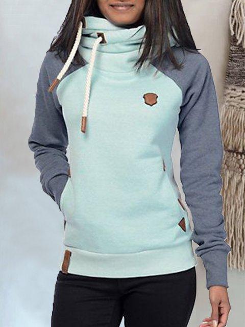 Light_Green Solid Long Sleeve Hoodie Sweatshirt