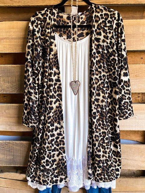 Leopard Long Sleeve Casual Outerwear