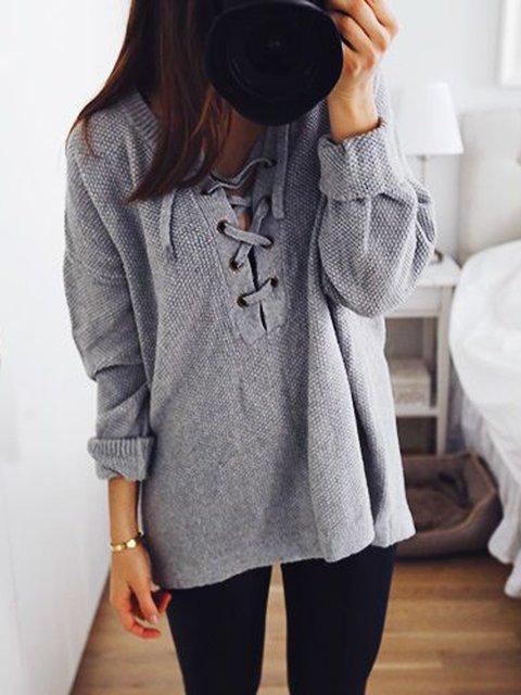 Gray Shift Casual V Neck Shirts & Tops