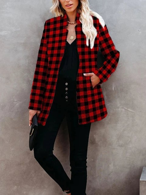 Red Stand Collar Long Sleeve Shift Outerwear