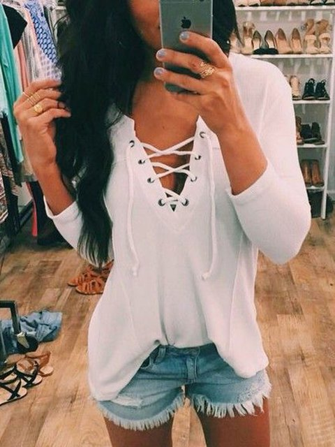 White Long Sleeve Shift Shirts & Tops