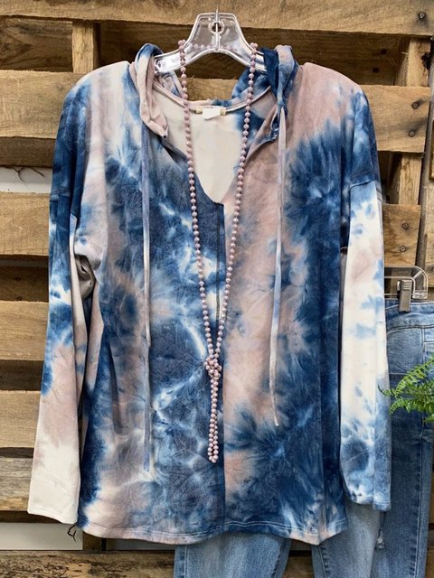 Blue Ombre/tie-Dye Dip-Dyed Long Sleeve Shirts & Tops