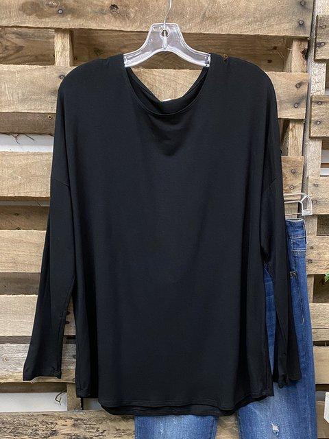 Black Cotton-Blend Plain Casual Shirts & Tops
