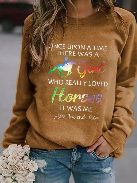Autumn And Winter Printed Round Neck Loose Sweater