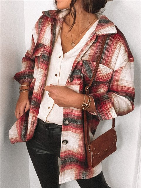 Shirt Collar Vintage Checkered/plaid Shirts & Tops