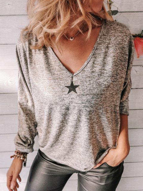 Gray Shift Cotton-Blend Casual V Neck Shirts & Tops