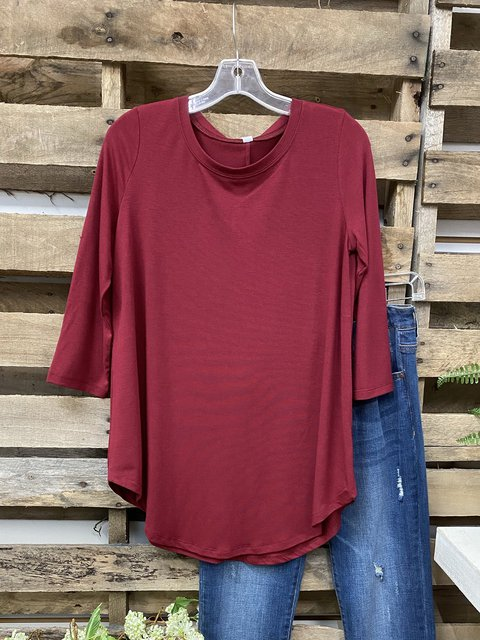 Casual Round Neck Solid Color Shirts & Tops