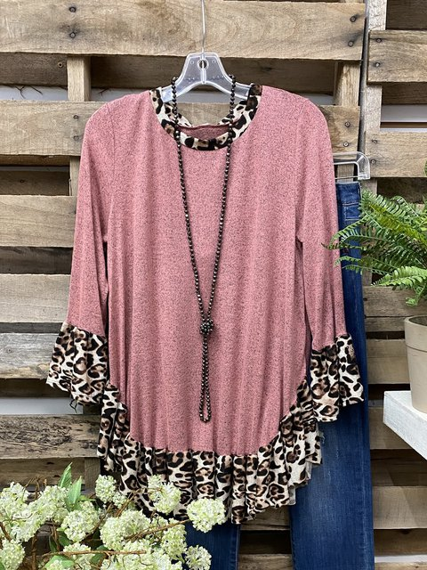 Animal Print Trim at Neck on Ruffled sleeves Cotton-Blend Tops