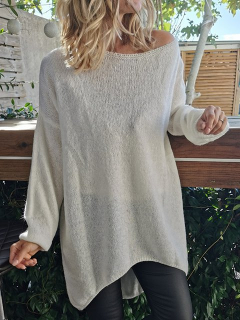 White Star Shift Cotton-Blend Casual Sweater