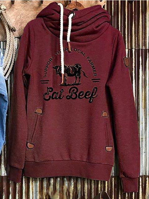 Wine Red Turtleneck Shift Long Sleeve Sweatshirt