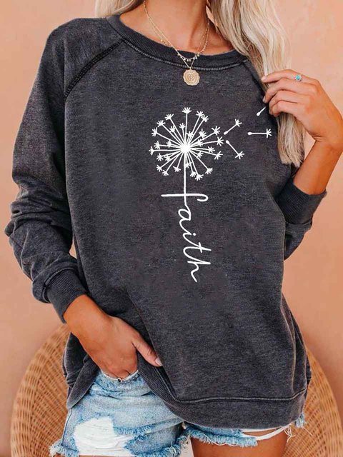 Gray Crew Neck Long Sleeve Shirts & Tops