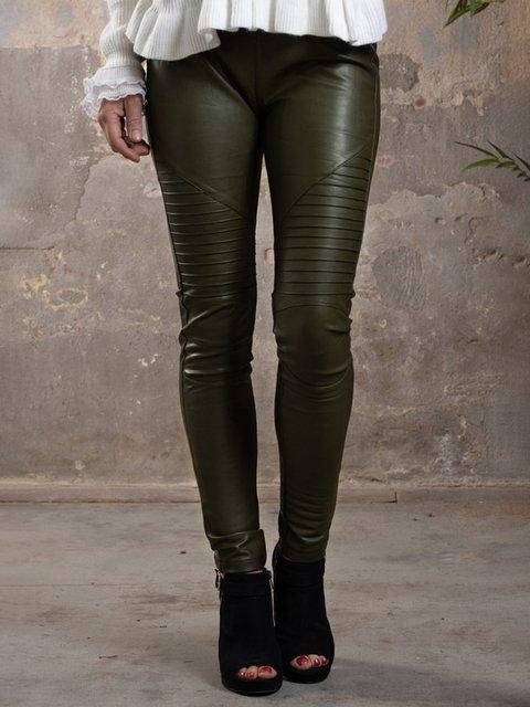 Green Casual Pu Pants