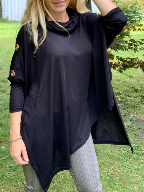 Black Casual Cotton-Blend Turtleneck Shirts & Tops