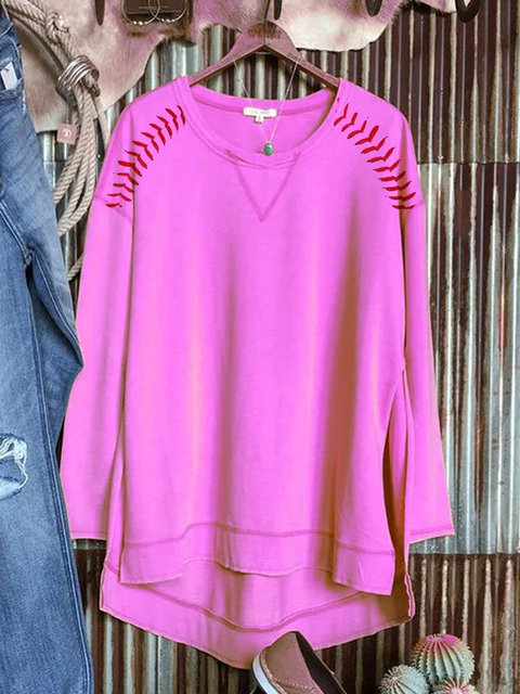 Comfortable long-sleeved asymmetrical sweater for baseball leisure