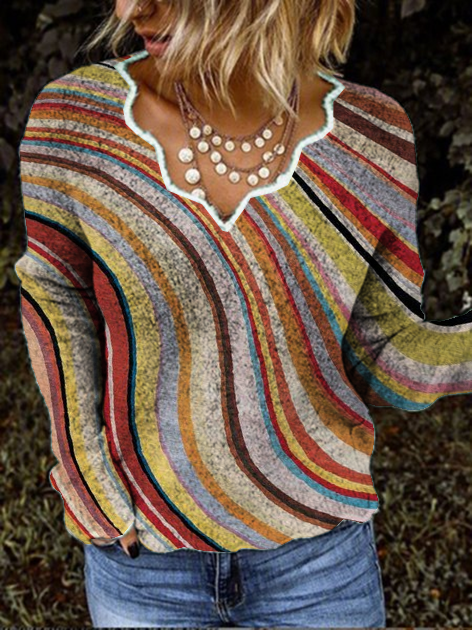 Shift Knitted Long Sleeve Stripes Shirts & Tops