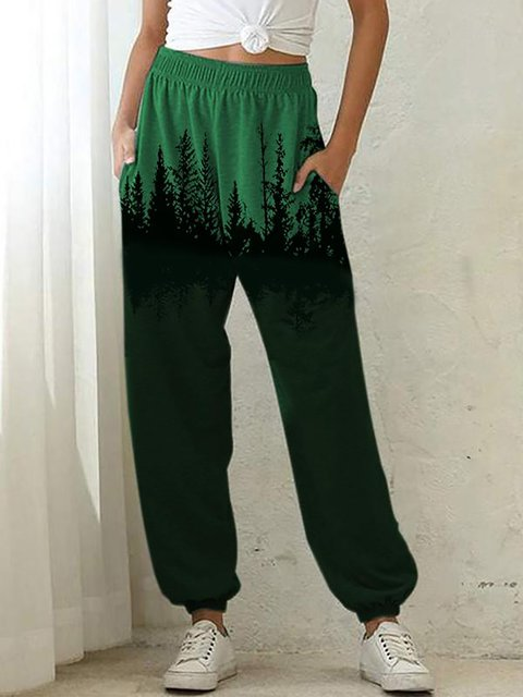 Treetop Printed Cotton-Blend Pants Casual Slacks