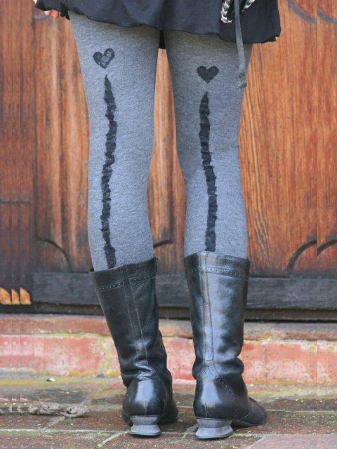 Gray Printed Casual Slim Leggings