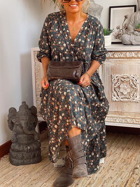 Floral Printed Loose Casual V-neck Long Sleeve Dresses