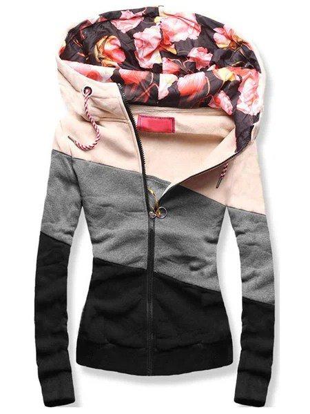 Multicolor Floral Long Sleeve Hoodie Floral-Print Outerwear