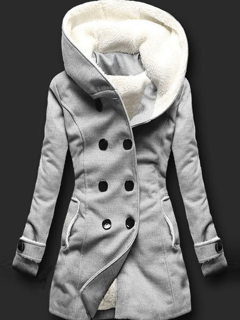 Light Gray Buttoned Hoodie Casual Outerwear