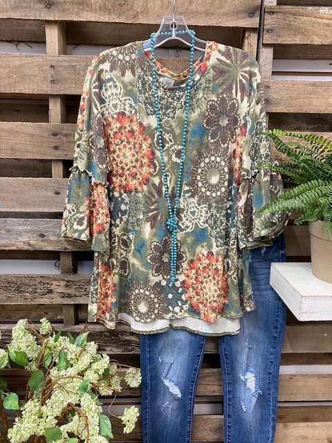 Gradient Print Women's Plus Size Shirt