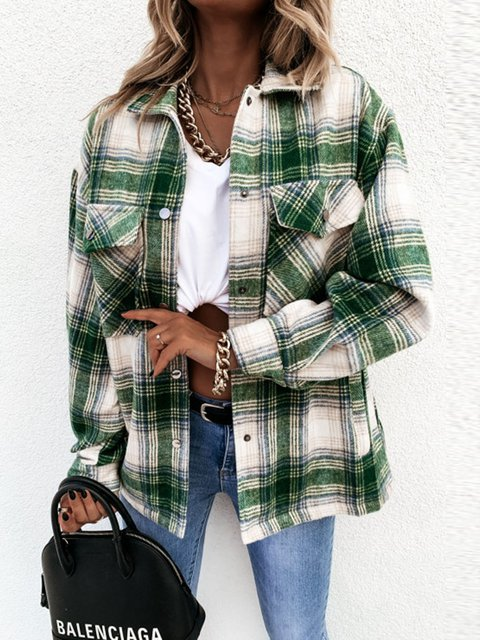 Loose-Fitting Retro Plaid Long-Sleeved Outerwear