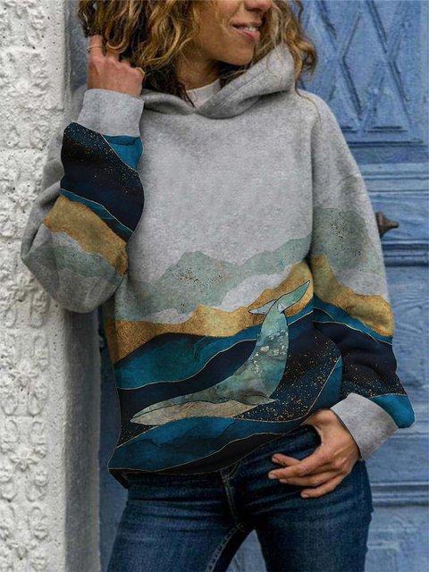 Gray Casual Shift Ombre/tie-Dye Sweatshirt
