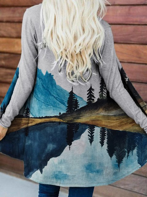 Mountain Print Cardigan