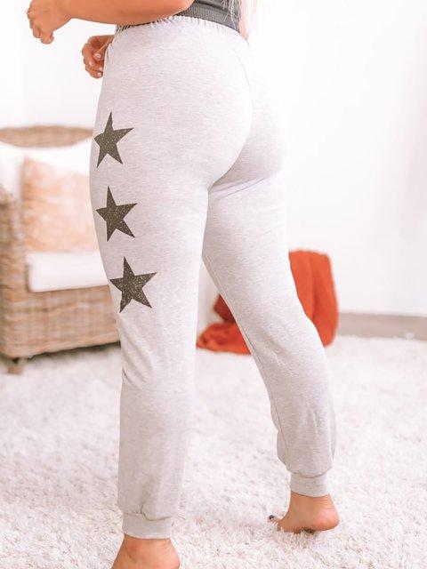 Star Printed Casual Elastic Waist Drawstring Pants