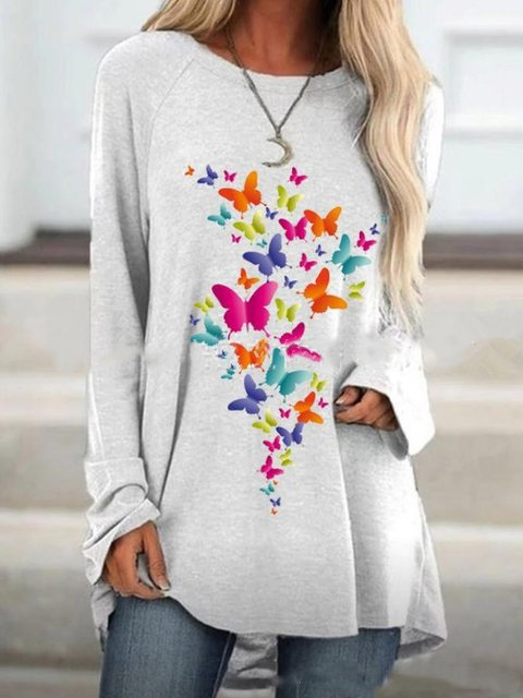 Crew Neck Printed Butterfly Casual Shirts & Tops