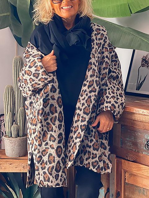 Leopard Print Loose Casual Long Sleeve Outerwear