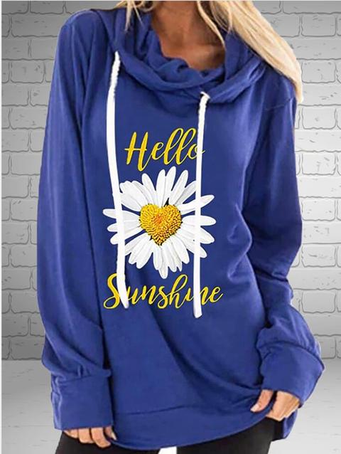 Holiday Daisy Printed Hoodie Sweatshirt