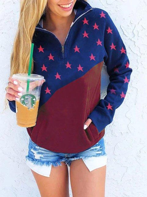 Casual printed American flag stitching comfortable sweatshirt