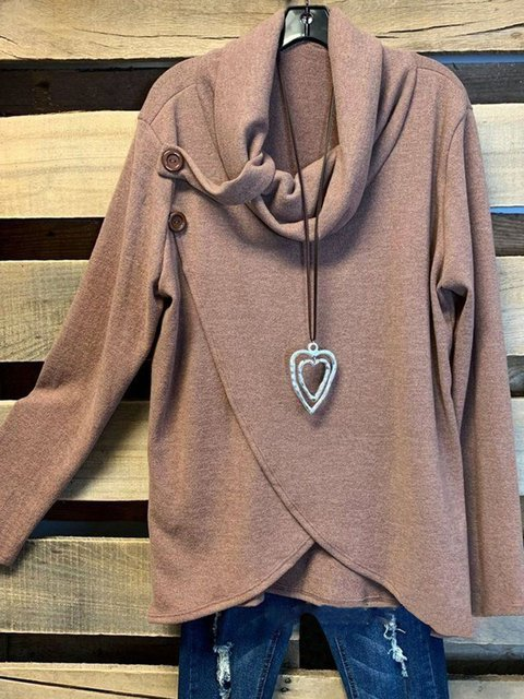 Solid Cotton-Blend Cowl Sports Tops