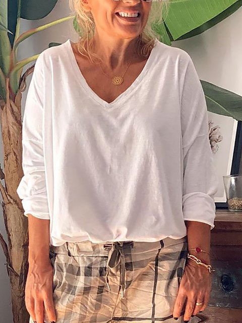 Solid Cotton Casual V-Neck Shirts & Tops