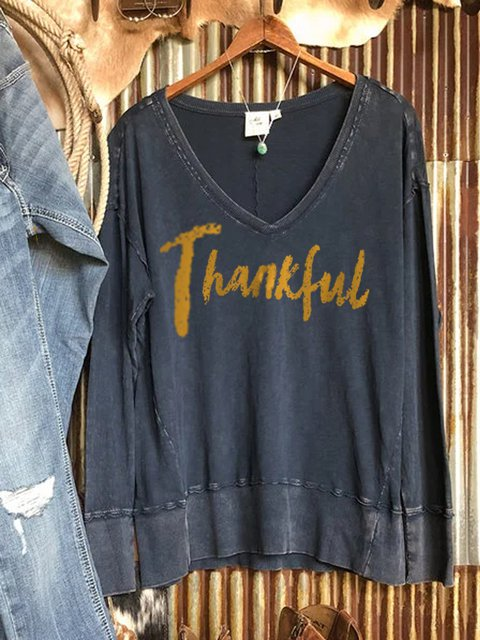 ashed cotton print long-sleeved v-neck retro thanksgiving sweater