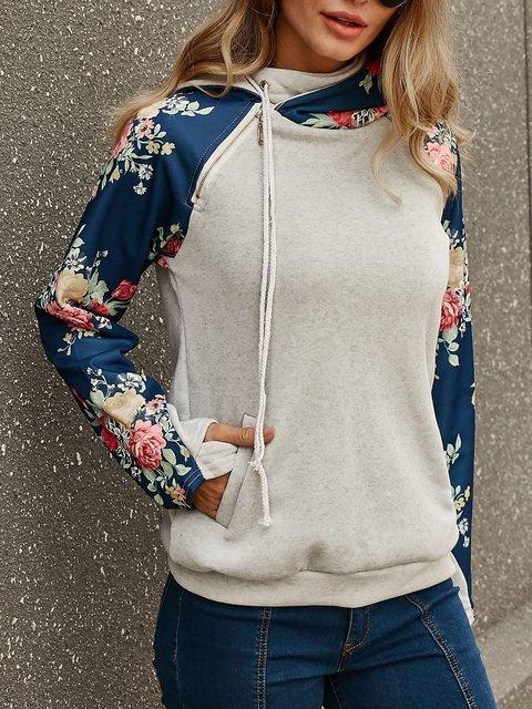 Gray Casual Hoodie Sweatshirt