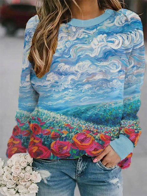 Art Painting Floral Cotton-Blend Holiday Sweatshirt